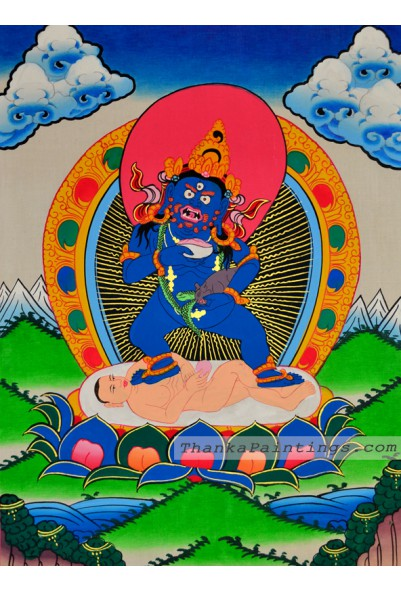 Black Kubera Figure Thangka