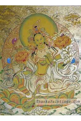 Green Tara Gold Lap Thangka