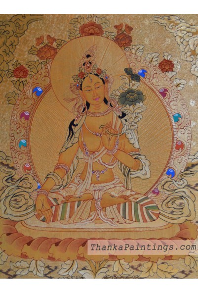 White Tara Gold Lap Thangka
